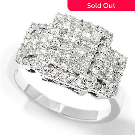 110-879 - Kallati Designs 14K White Gold 1.00ctw Three-Stone Look Diamond Ring