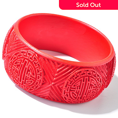111-343 - 8'' Red Cinnabar Wide Bangle Bracelet