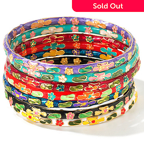 111-388 - Set of Seven 6mm 7.25'' Hand Made Cloisonne Bangles