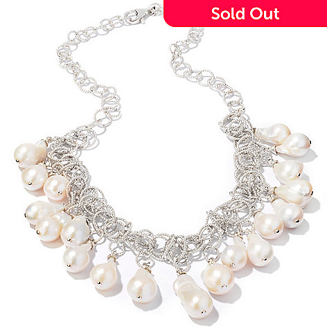 111-452 - Sterling Silver 18.5'' 10-11mm Freshwater Cultured Pearl Baroque Necklace