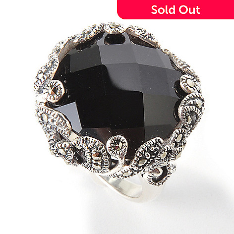 111-650 - Sterling Silver Black Onyx or Red Agate & Marcasite Ring