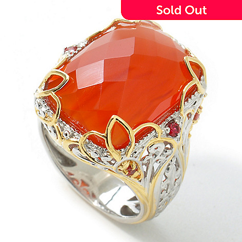 112-025 - Gems en Vogue II 18 x 13mm Checkerboard-Cut Carnelian & Orange Sapphire Ring