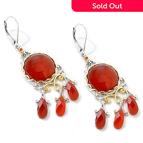 112-026 - Gems en Vogue Carnelian & Orange Sapphire Chandelier Earrings