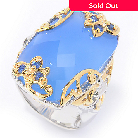 112-198 - Gems en Vogue II Elongated Blue Chalcedony w/ Blue Sapphire Ring