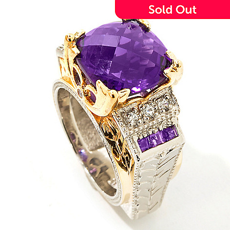 112-200 - Gems en Vogue 6.94ctw Checkerboard-Cut Cushion Amethyst Ring