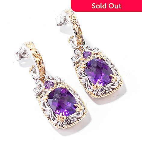 112-368 - Gems en Vogue Checkerboard-Cut Cushion Gemstone Drop Earrings