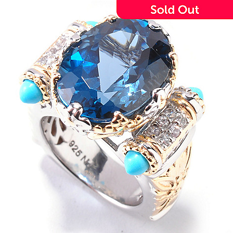 112-380 - Gems en Vogue 11.95ctw London Blue Topaz & Turquoise Bullet Ring