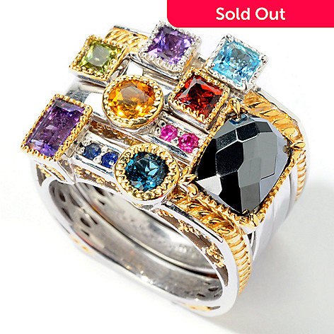 112-535 - Gems en Vogue Multi-Gemstone ''Manhattan Stack'' Ring