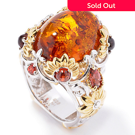 112-542 - Gems en Vogue II Amber w/ Garnet & Orange Sapphire Ring