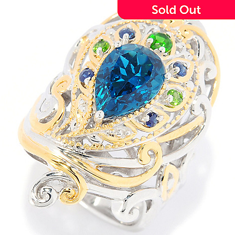 112-544 - Gems en Vogue 3.03ctw London Blue Topaz & Multi-Gem Peacock Ring