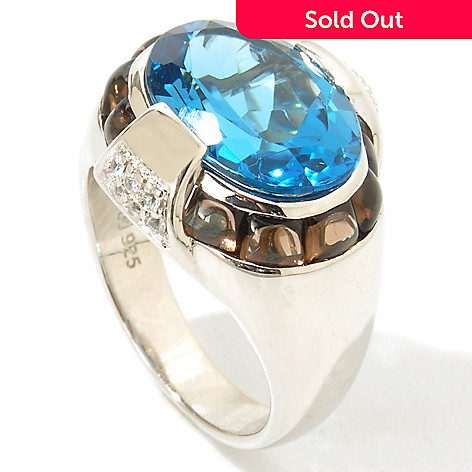 112-720 - Omar Torres 7.19ctw London Blue Topaz & Smoky Quartz ''Manhattan'' Ring