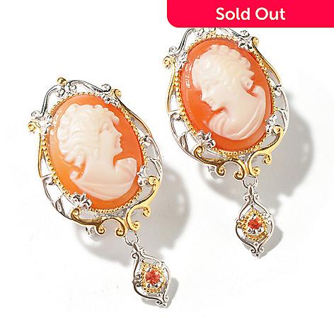 112-759 - Gems en Vogue 16 x 12mm Hand-Carved Shell Cameo Earrings w/ Omega Backs
