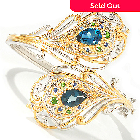 112-760 - Gems en Vogue 8.30ctw London Blue Topaz & Multi-Gem Peacock Hinged Bangle Bracelet