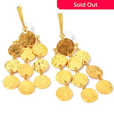 112-789 - Toscana Italiana Gold Embraced™ Hammered Chandelier Drop Earrings
