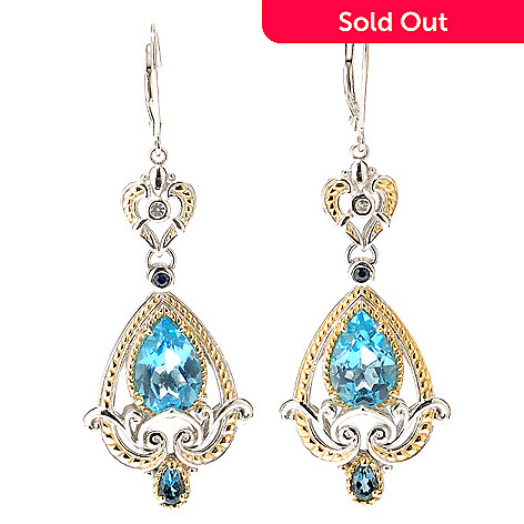 112-810 - Gems en Vogue Swiss Blue Topaz London BlueTopaz Blue & White Sapphire Earring