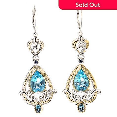 112-810 - Gems en Vogue Swiss Blue Topaz London BlueTopaz Blue & White Sapphire Earring