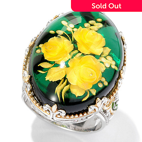 112-822 - Gems en Vogue Hand-Carved Green Amber Rose Intaglio Ring