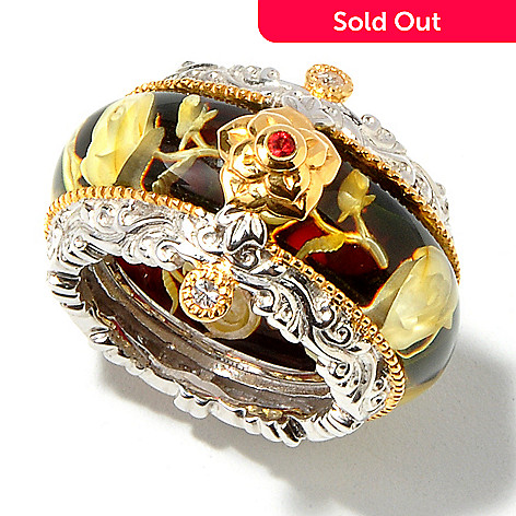 112-838 - Gems en Vogue II Carved Amber & Sapphire Accent Vintage Inspired Ring