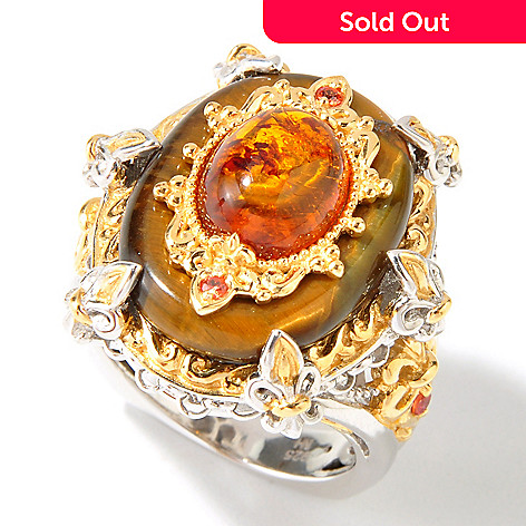 112-851 - Gems en Vogue Tiger's Eye Quartz, Baltic Amber & Orange Sapphire Ring