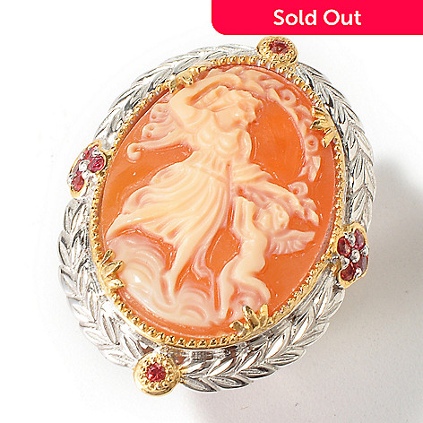 112-928 - Gems en Vogue 25x8mm Italian Hand-Carved Dancing Angel Shell Cameo Ring