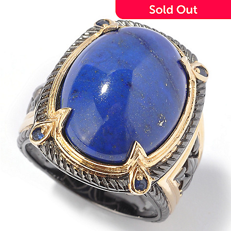 112-937 - Men's en Vogue 20x15mm Blue Lapis & Sapphire Ring