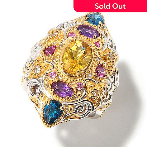 112-940 - Sterling Silver / Palladium / 18K Vermeil Yellow Beryl Multi-Gem Moroccan-Inspired Ring