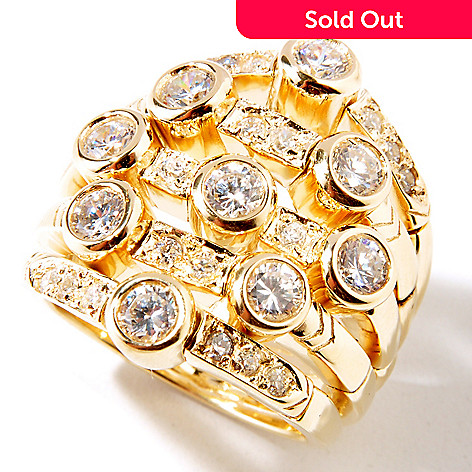 113-155 - Sonia Bitton Polished Bezel Set Simulated Diamond Five-Row Ring
