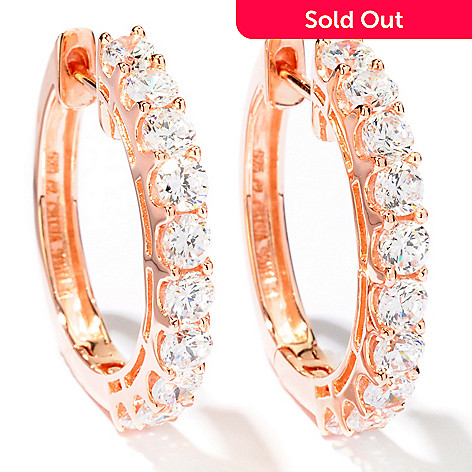 113-160 - Sonia Bitton 1'' 2.80 DEW Simulated Diamond Hoop Earrings