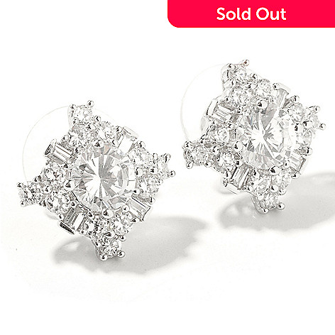 113-254 - Sonia Bitton For Brilliante® Platinum Embraced™ Round & Baguette Cluster Earrings