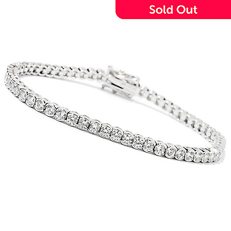 113-267 - BELITA™ Platinum Embraced™ Brilliante® 6.5'', 7.25'' or 8'' Semi-Bezel Tennis Bracelet