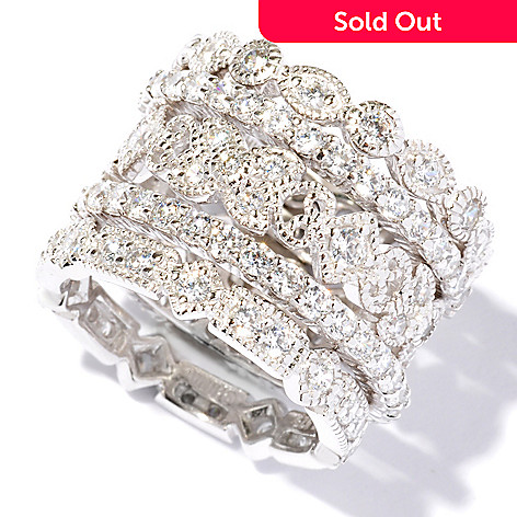 113-426 - Brilliante® Platinum Embraced™ 2.68 DEW Simulated Diamond Eternity Rings