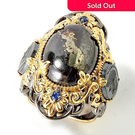 113-854 - Gems en Vogue Pyrite w/ Carved Hematite & Blue Sapphire Neo-Classic Ring