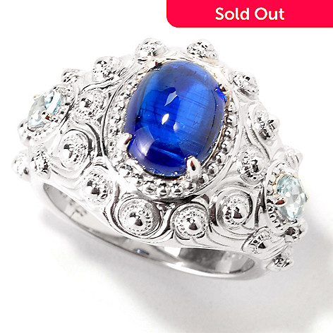 113-885 - Gem Insider Sterling Silver Kyanite & Aquamarine Accents Ring