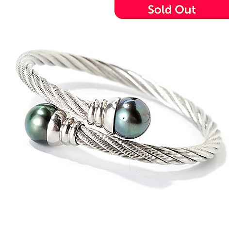 113-908 - Stainless Steel 10-11mm Tahitian Cultured Pearl Twisted Bracelet