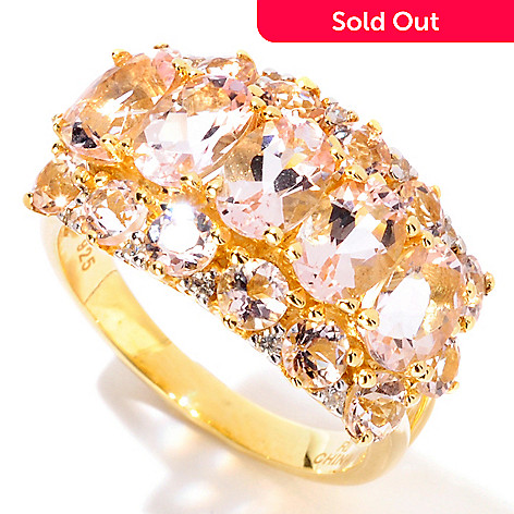 113-913 - NYC II 3.11ctw Morganite & White Zircon Three-Row Ring