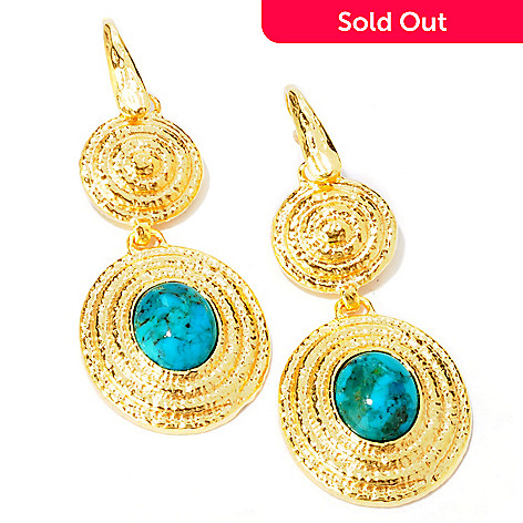 113-927 - Toscana Italiana Gold Embraced™ 2.25'' Turquoise Oval Drop Earrings