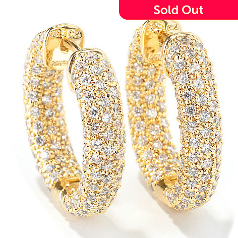 114-010 -  Sonia Bitton 5.00 DEW Round Cut Pave Simulated Diamond Hoop Earrings