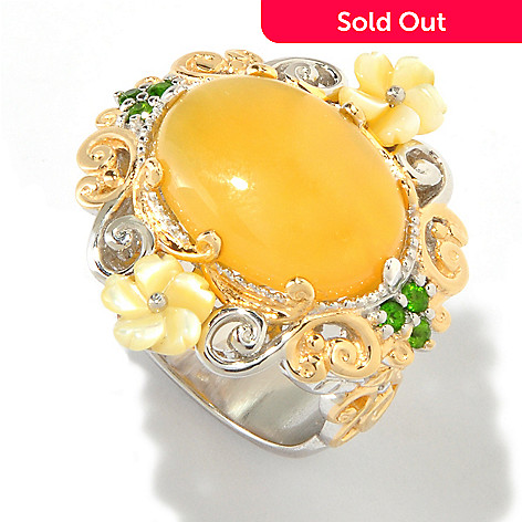 114-120 - Gems en Vogue Yellow Opal w/ Carved Shell Flowers & Chrome Diopside Ring