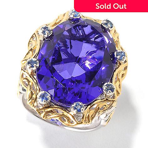 114-125 - Gems en Vogue 18.32ctw Quartz Doublet & Sapphire Ring