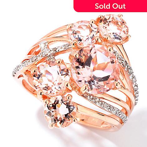 114-142 - Gem Treasures 14K Rose Gold 3.13ctw Multi Stone Morganite & Diamond Ring