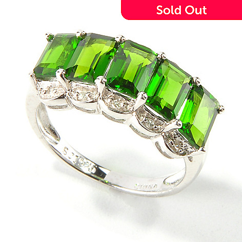114-146 - Gem Insider Sterling Silver Aquamarine, Iolite or Chrome Diopside & Diamond Ring