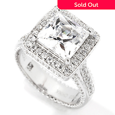 114-155 - TYCOON Platinum Embraced™ 3.70 DEW Square Simulated Diamond Halo Ring