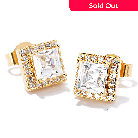 114-156 - TYCOON Platinum Embraced™ 1.74 DEW Simulated Diamond Halo Stud Earrings