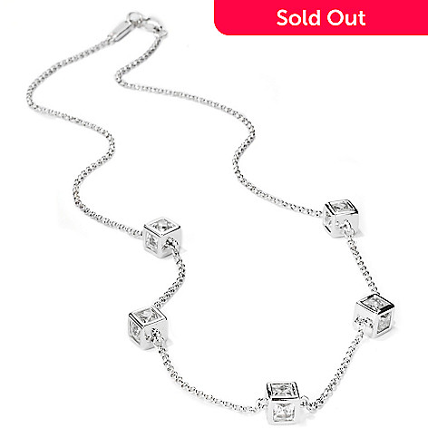 114-166 - TYCOON for Brilliante® 18'' Platinum Embraced™ Tycoon Cut Cube Station Necklace