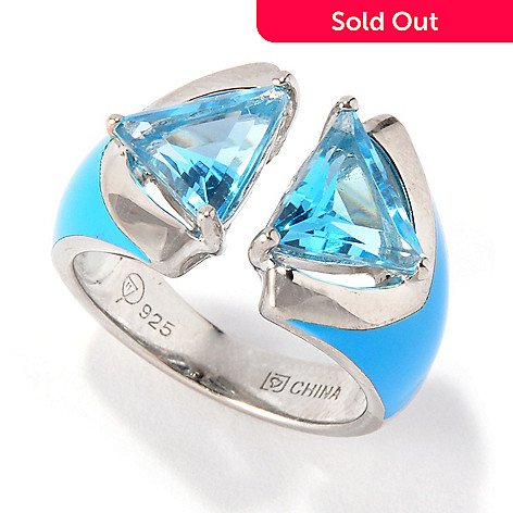 114-255 - Omar Torres ''Encounter'' Trillion Cut Gem & Enamel Ring
