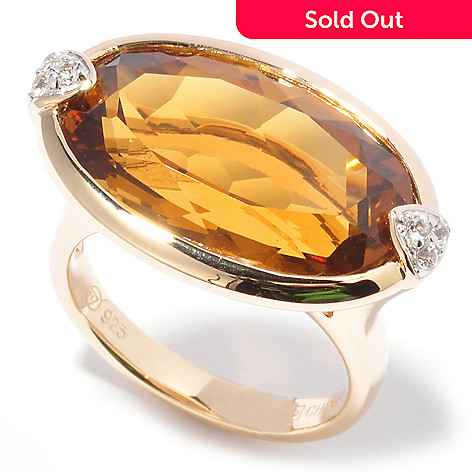 114-257 - Sterling Silver / 18K Vermeil ''Dawn'' Citrine & White Sapphire Ring