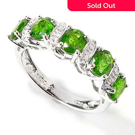114-301 - Gem Insider™ Sterling Silver Five-Stone Gemstone & Diamond Ring