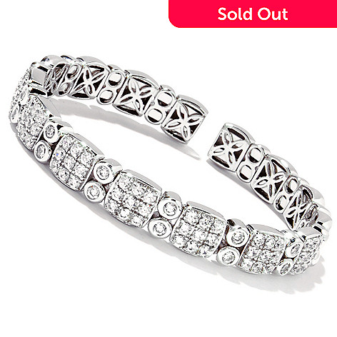 114-370 - Sonia Bitton for Brilliante® 6.5'' or 7.25'' Platinum or Gold Embraced Pave & Bezel Flex Bracelet