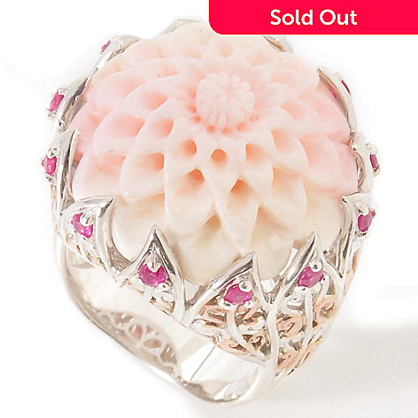 114-376 - Gems en Vogue II Carved Queen Conch Shell Flower w/Ruby Ring