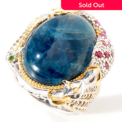 114-453 - Gems en Vogue Opaque Apatite w/ Ruby & Chrome Diopside Mermaid Ring